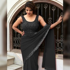 Georgette Work Saree - FG2845 | Black