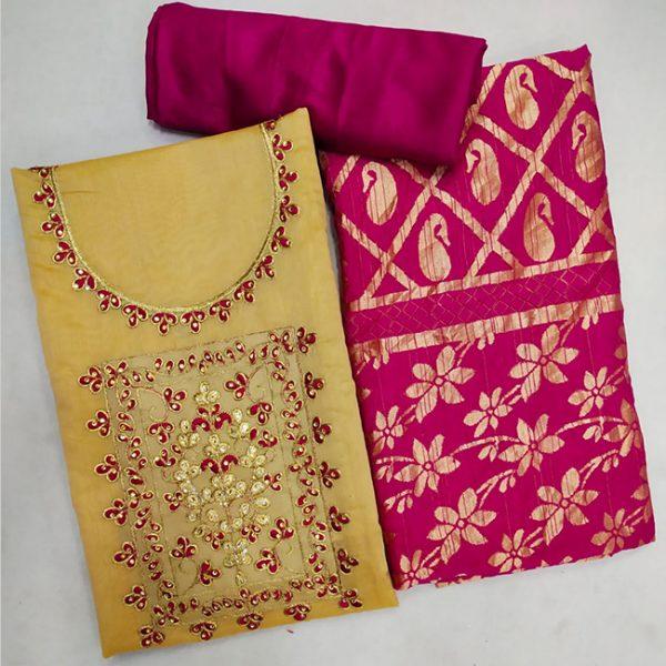 Chanderi Cotton Dress Material - FG2858   Yellow