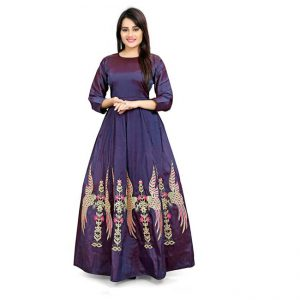 Poly Silk Anarkali Gown - CZ1037 | Dark Blue