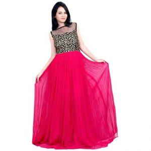 Net&Velvet Semi Stitched Gown - CZ1034 | Pink