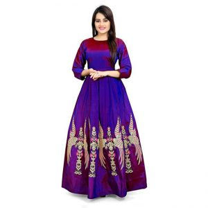 Poly Silk Anarkali Gown - CZ1037 | Blue