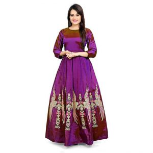 Poly Silk Anarkali Gown - CZ1037 |Purple