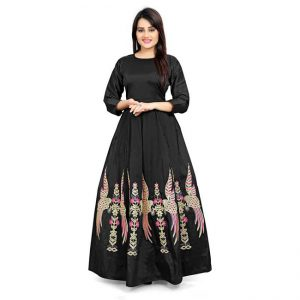Poly Silk Anarkali Gown - CZ1037 | Black
