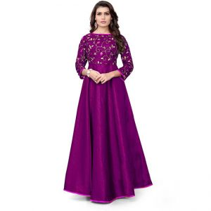 Silk A-Line Gown - CZ1040 | Purple | CC-03