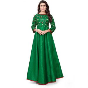 Silk A-Line Gown -CZ1040 | Green | CC-06
