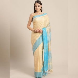 Ayna Silk Jhalar Work Saree - FG2893 | Light Blue