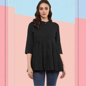 Cotton Stitch Kurti - FG2928   Black
