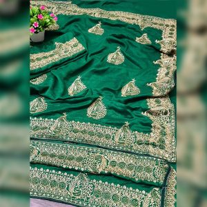 Vichitra Silk Embroidered Saree - FG2895 | Green