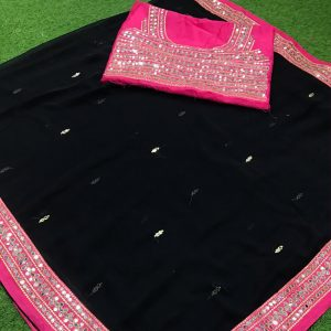 Georgette Lace Border Saree - FG2883 | Black