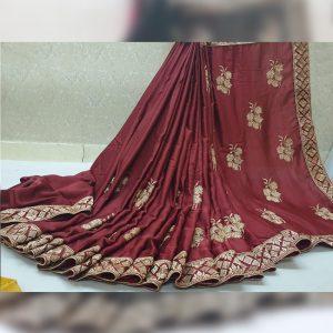Vichitra Silk Thread Work Saree - FG2917 | Brown