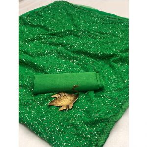 Georgette Embroidered Saree - FG2914 | Green