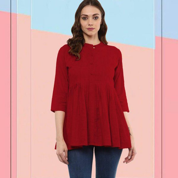 Cotton Stitch Kurti - FG2928   Red