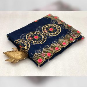 Organza Embroidered Saree - FG2915 | Dark Blue