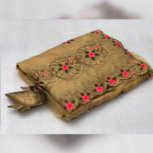Organza Embroidered Saree - FG2915 | Khaki