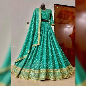Vichitra Embridered Semi Stitch - FG2900 | Green