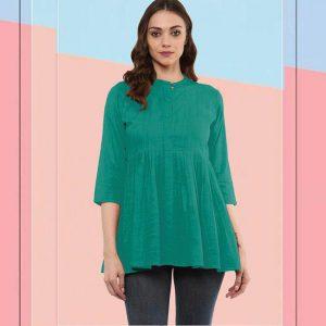 Cotton Stitch Kurti - FG2928 | Green