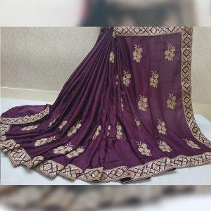 Vichitra Silk Thread Work Saree - FG2917 | Purple