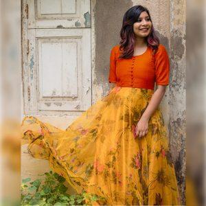 Banglori Silk Stitch Top - FG2892 | Orange