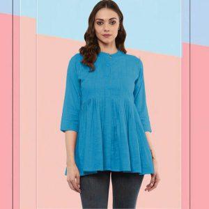 Cotton Stitch Kurti - FG2928 | Light Blue