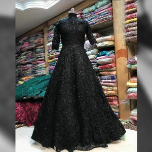 Soft Net Stitch Gown & Bottom - FG2925 | Black