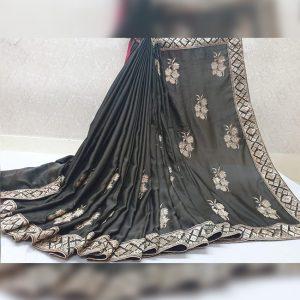Vichitra Silk Thread Work Saree - FG2917 | Dark Gray