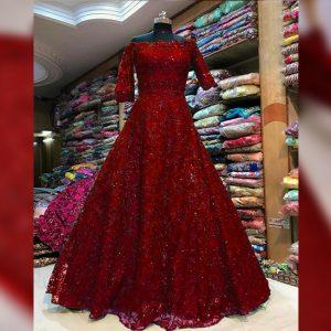 Soft Net Stitch Gown & Bottom - FG2925 | Red