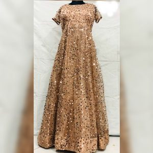 Nylon Net Sequence Gown - FG2916 | Golden