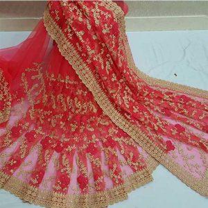 Net Embroidery&Zari Work Saree - FG2908 | Rust
