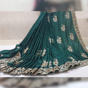 Vichitra Silk Thread Work Saree - FG2917 | Green