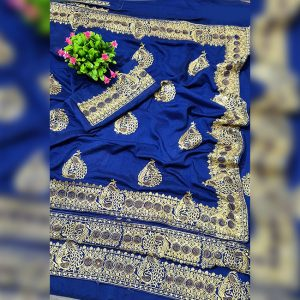 Vichitra Silk Embroidered Saree - FG2895 | Blue