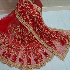 Net Embroidery&Zari Work Saree - FG2908 | Maroon