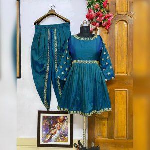 Taffeta Silk Top&Dhoti - FG2904 | Blue