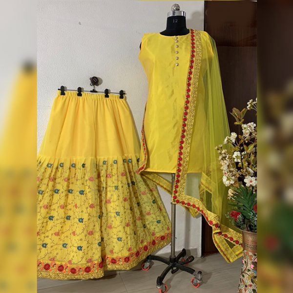 Georgette Embroidered Top&Dupatta - FG2897 | Yellow