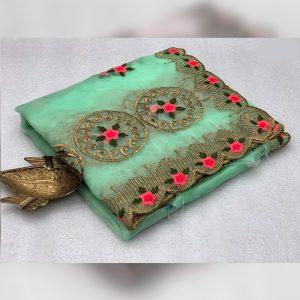 Organza Embroidered Saree - FG2915 | Sea Green