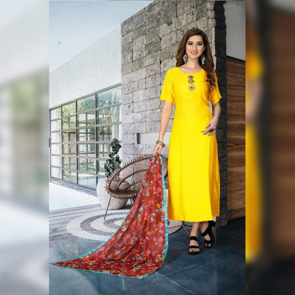 Rayon Gown - FG2886 | Yellow | CC-02