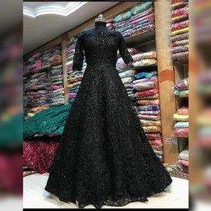 Net Stitch Gown&Bottom - FG2898 | Black