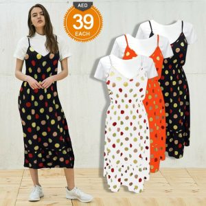 Polyester Mix Long Sphagetty Dresses – JT1735