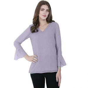 Stylish V-Neck Bell Sleeve Top - NOW1131 | Purple