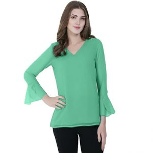 Stylish V-Neck Bell Sleeve Top - NOW1132 | Green