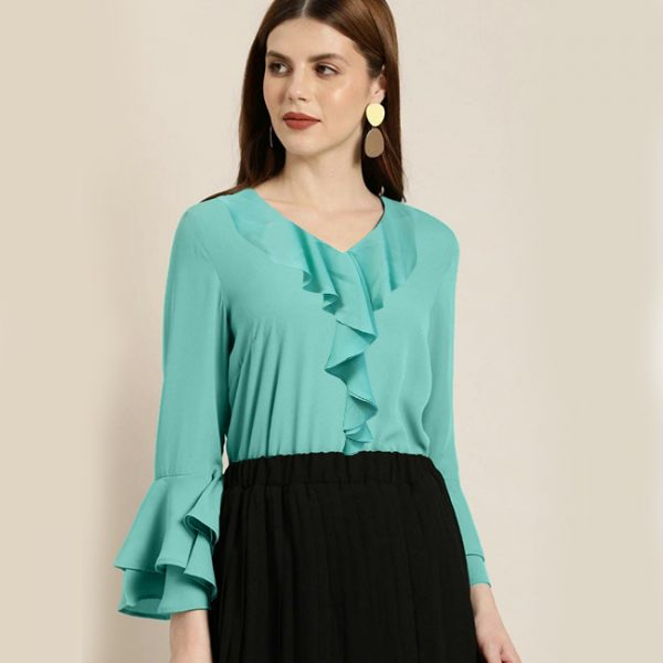 Bell Sleeve Stylish Top – NOW1197   Light Green
