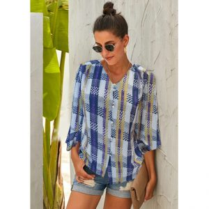 Stylish V-Neck Full Sleeve Top - NOW1142 | Blue
