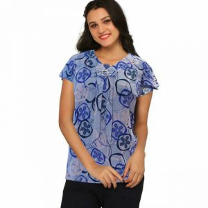 New Short Sleeves Floral Top - NOW1136 | Blue