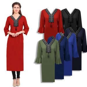 Bell sleeves Long Kurti Top For Women - JT1744