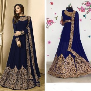 Faux Georgette Heavy Coding Work Semi Stitch Top, Bottom & Dupatta - PMM1019 | Dark Blue
