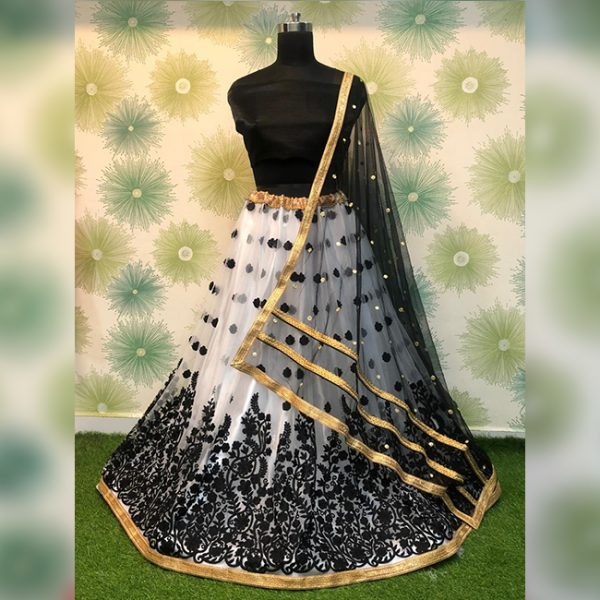 Heavy Net Embroidered Semi Stitch Lehanga,Blouse & Dupatta – PMM1053 | Black