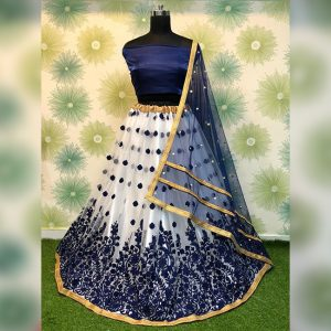 Heavy Net Embroidered Semi Stitch Lehanga,Blouse & Dupatta - PMM1053 | Dark Blue