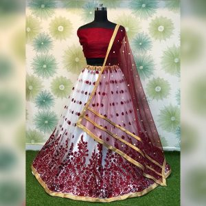 Heavy Net Embroidered Semi Stitch Lehanga,Blouse & Dupatta - PMM1053 | Maroon